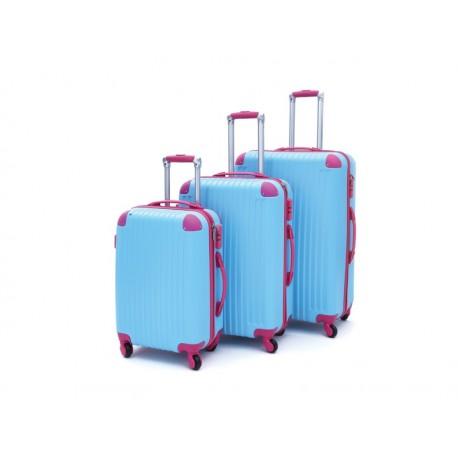 Σετ βαλίτσες ταξιδίου (γαλάζιο-φούξια) ST12 OEM