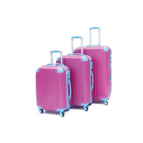 Σετ βαλίτσες ταξιδίου (φούξια-γαλάζιο) ST11 OEM