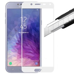 TEMPERED GLASS SAMSUNG GALAXY J4 2018 FULL COVER WHITE  GL316