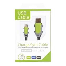 Data Cable για Apple iPhone 5/5S/5C, iPad mini/mini2, itouch5, iPad 4, iPod nano 7 Green 9515