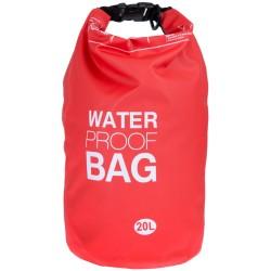 100% Αδιάβροχη Τσάντα Παραλίας 20lt Κόκκινο Χρώμα με Ασφαλές Κλείσιμο WB113