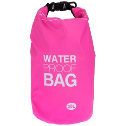 100% Αδιάβροχη Τσάντα Παραλίας 20lt Ροζ Χρώμα με Ασφαλές Κλείσιμο WB114