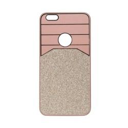 Θήκη Πλαστική Ροζ-Χρυσό με glitter για iPhone6 Plus IK710 OEM