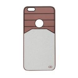 Θήκη Πλαστική Ροζ-Χρυσό με glitter για iPhone6 Plus IK711 OEM