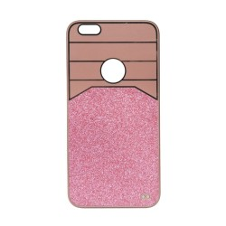 Θήκη Πλαστική Ροζ-Χρυσό με glitter για iPhone6 Plus IK712 OEM