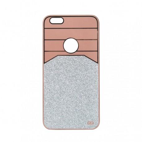 Θήκη Πλαστική Ροζ-Χρυσό με glitter για iPhone6 Plus IK713 OEM