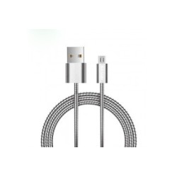OEM METAL DATA/CHARGE CABLE USB MALE TO MICRO USB SILVER 1 M C7V8