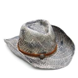 Καπέλο γκρι ψάθα με καφέ λεπτομέρειες 508 OEM