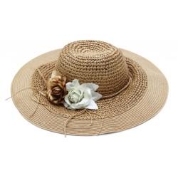 Καπέλο ψάθα καφέ λουλούδι...