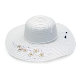 Καπέλο ψάθα λευκό με σχέδιο 623 OEM