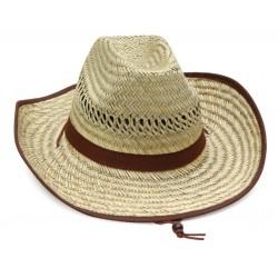 Καπέλο ψάθα με καφέ σκούρες λεπτομέρειες 502 OEM