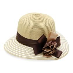 Καπέλο ψάθα μπεζ λουλούδι...