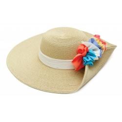 Καπέλο ψάθα μπέζ λουλούδι...