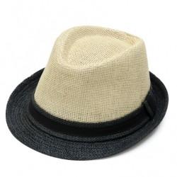 Καπέλο ψάθα μπέζ μαύρο 0716 OEM