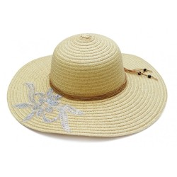 Καπέλο ψάθα μπέζ με σχέδιο 624 OEM