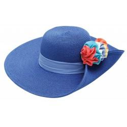Καπέλο ψάθα μπλέ λουλούδι 605 OEM