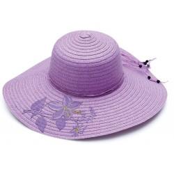 Καπέλο ψάθα μώβ με σχέδιο...
