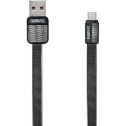 Remax Flat USB 2.0 Cable USB-C male - USB-A male Μαύρο 1m (RC-044a)