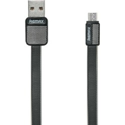 Remax Flat USB 2.0 to micro USB Cable Μαύρο 1m (RC-O44m)